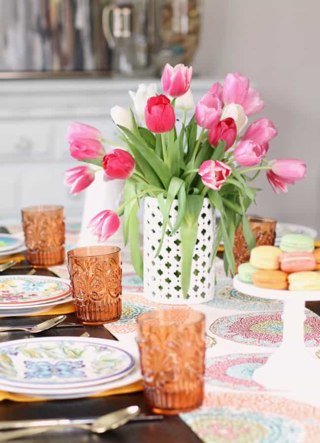 colorful spring tablescape; See how to add more color to the dining table with 2 different looks for Spring entertaining. I've set one table, two different ways using the same items. See what I changed, here.