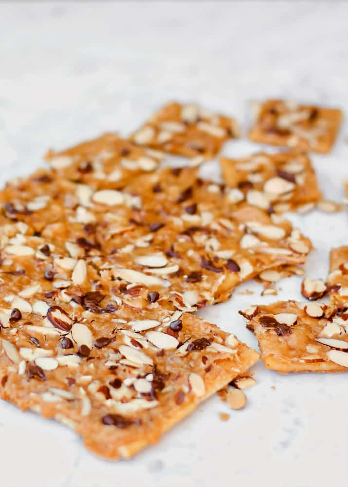 saltine cracker toffee on marble surface