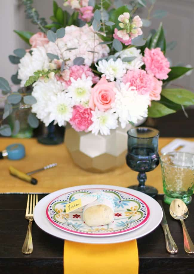 spring place setting with pink and white flowers; See how to add more color to the dining table with 2 different looks for Spring entertaining. I've set one table, two different ways using the same items. See what I changed, here.