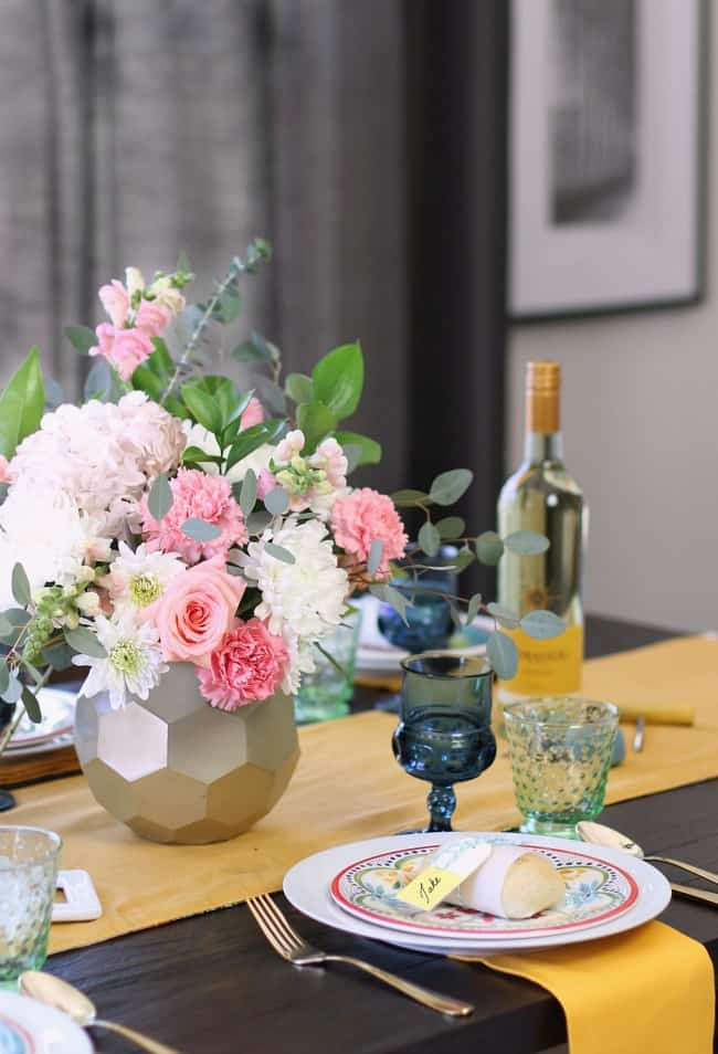 See how to add more color to the dining table with 2 different looks for Spring entertaining. I've set one table, two different ways using the same items. See what I changed, here.