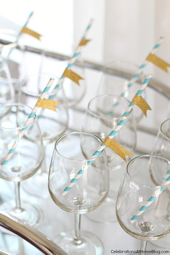 baby shower sip and see glasses and straws