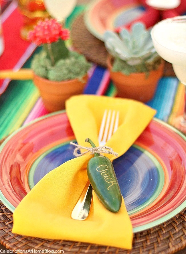 Mexican themed napkin ties, jalapeno pepper name tag