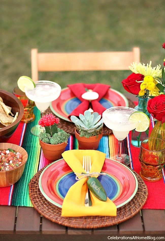 party ideas for Mexican fiesta table setting