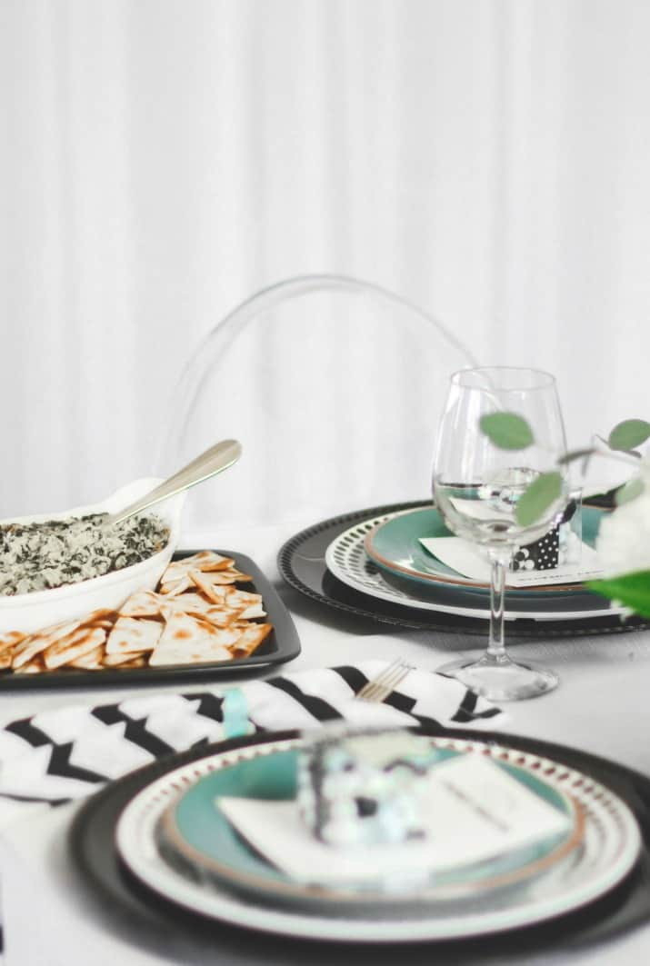 modern table setting for girls night in with appetizers