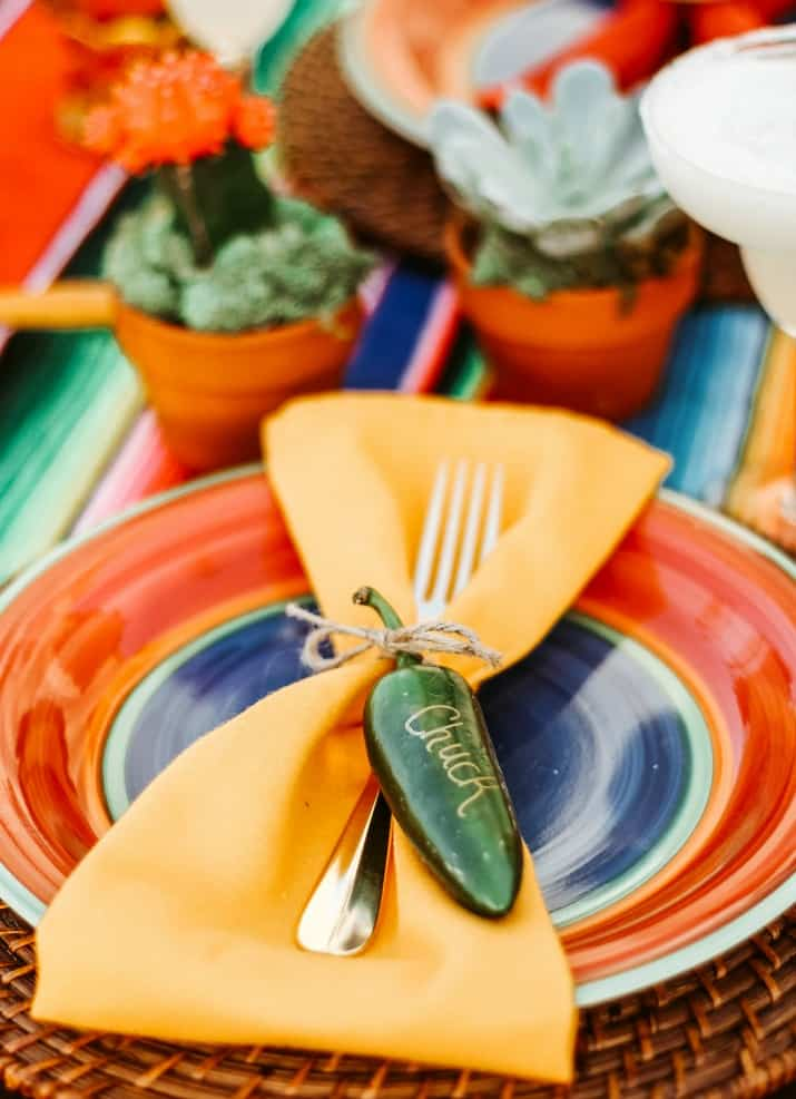 Mexican theme table decoration, jalapeno pepper name tag