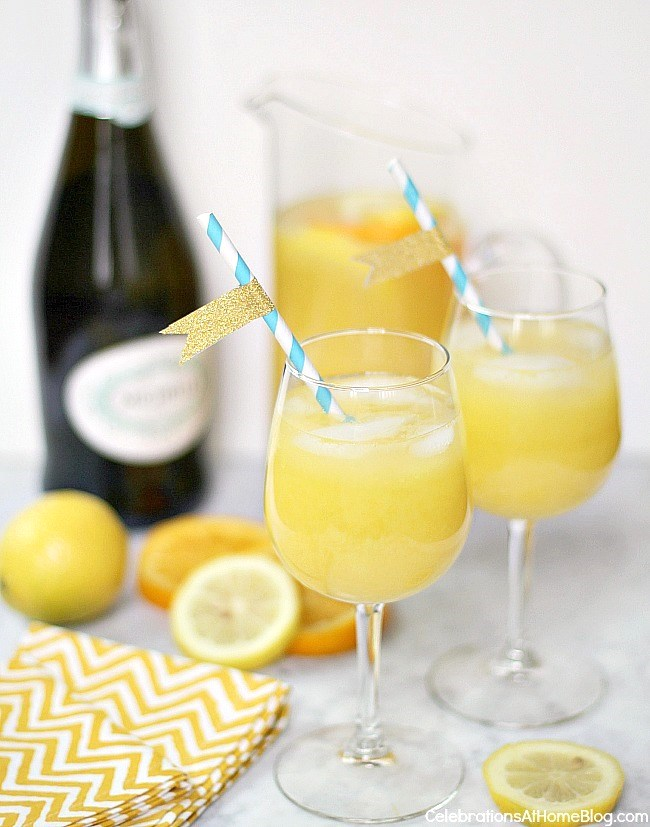 "Make this fizzy sunshine punch for a baby shower and add champagne for a more ""festive"" touch"