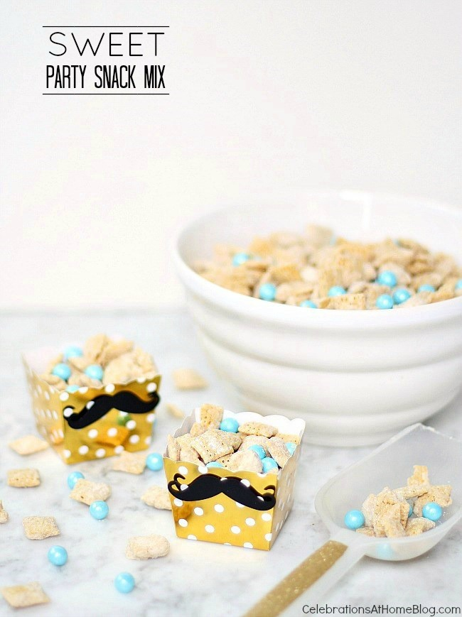 Make this sweet party snack mix for a baby shower and add blue or pink candies for a boy or girl.  Or add yellow for a neutral shower.