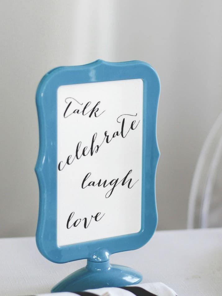 girls night in table sign, talk, laugh, celebrate, love