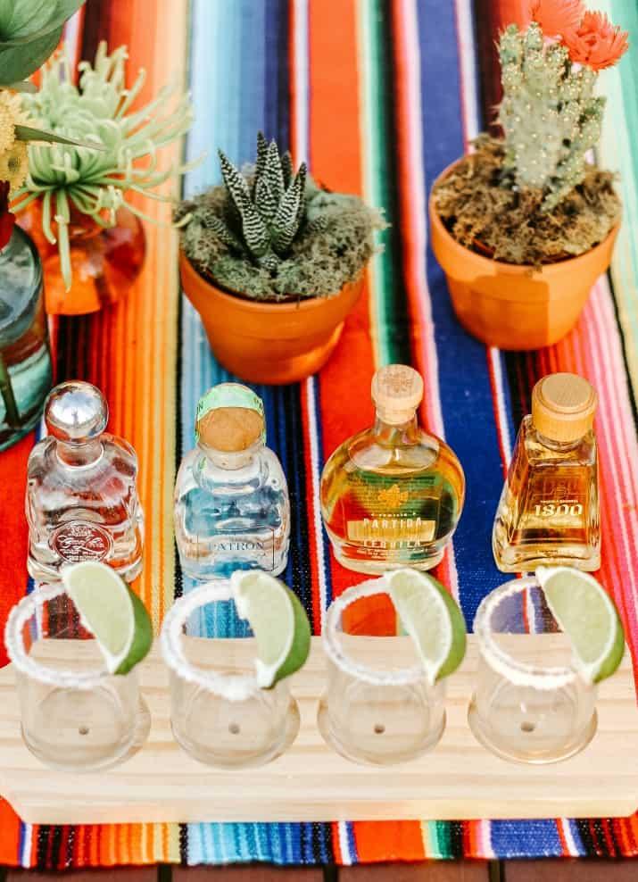 mini tequila bottles tasting flight