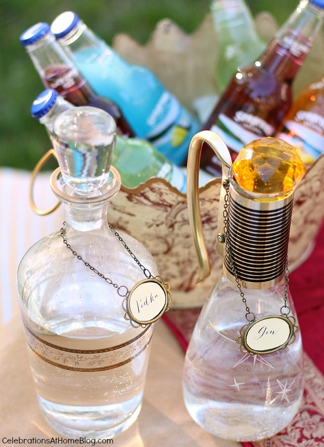 decanters for a Moroccan inspired party