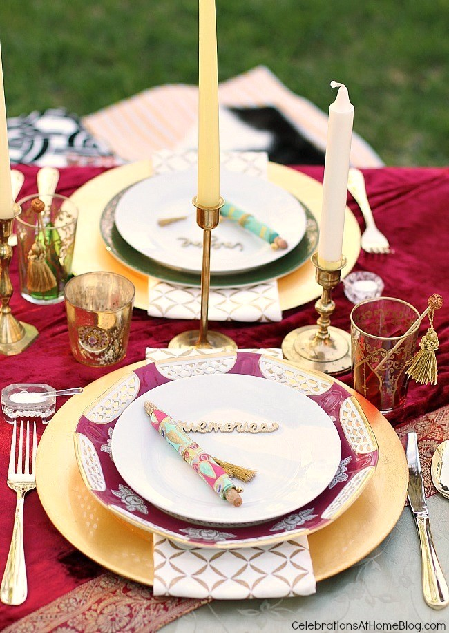 Colorful tabletop with gold accents. Lots of decor, food, & drink ideas from this Moroccan inspired party.