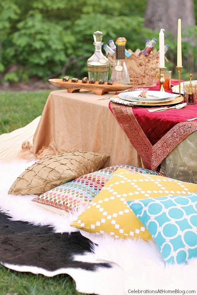 floor seating dinner party, Moroccan inspired party.