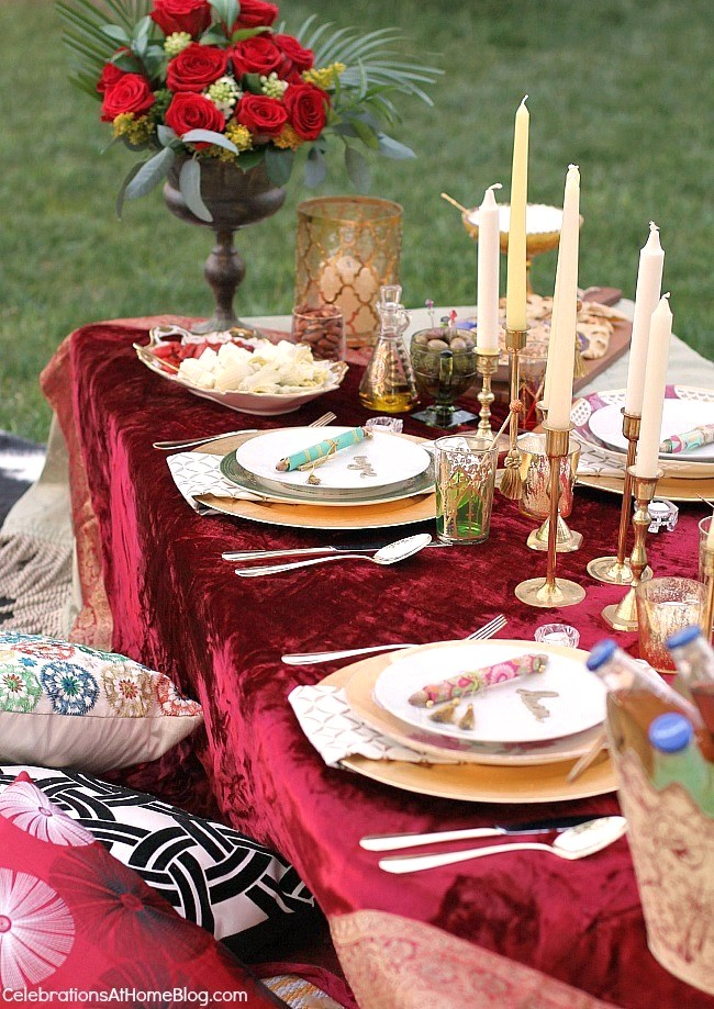 Moroccan themed tablescape for a Moroccan inspired party.