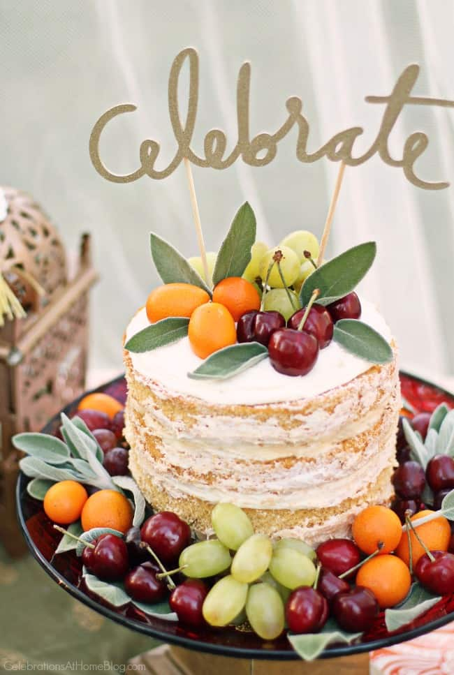 naked cake decorated with fresh fruit, Moroccan inspired party