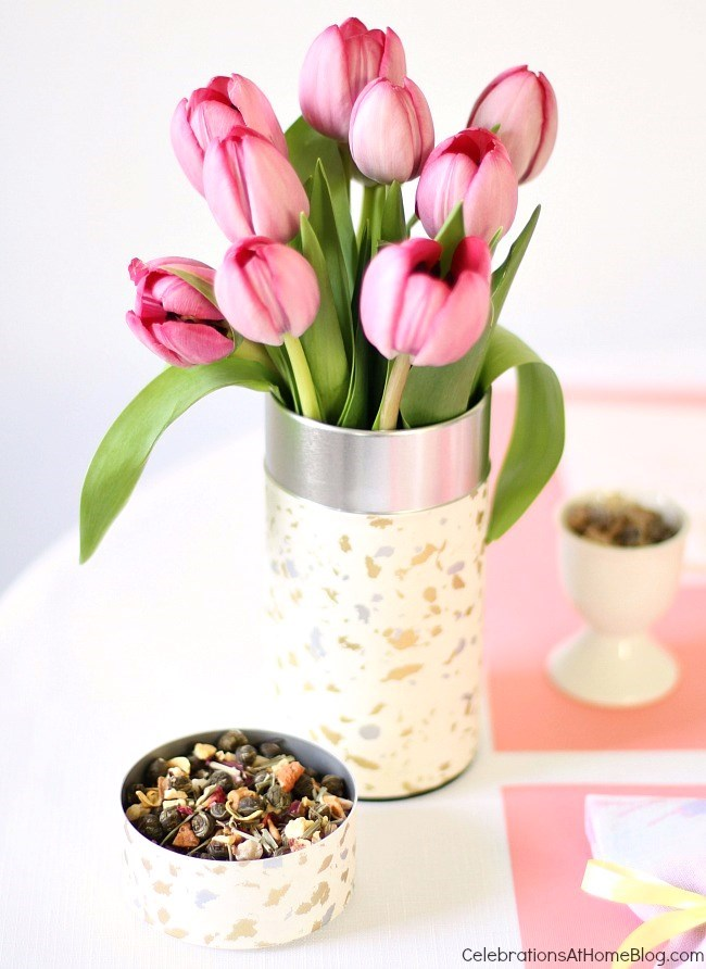 tulips in tea canister for entertaining with Tea