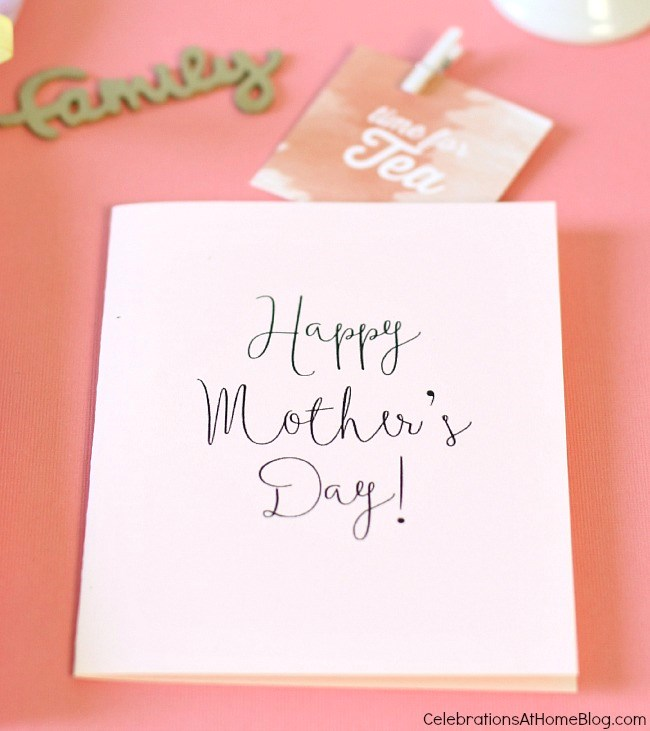 FREE printable mother's day card for entertaining with tea.