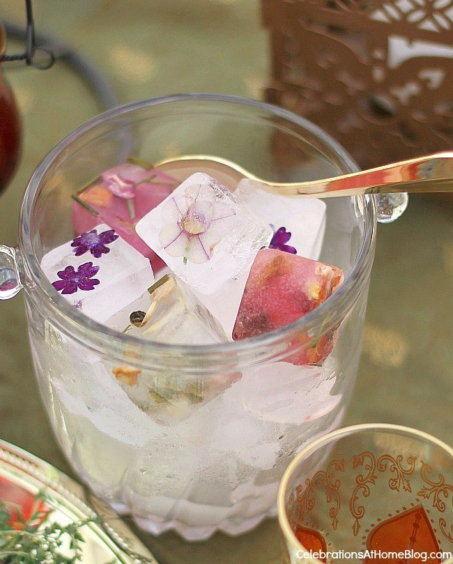 Add style to your entertaining by freezing edible flowers & herbal tea blends into ice cubes.