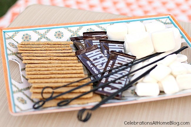 Outdoor living & entertaining - tray of s'mores supplies.