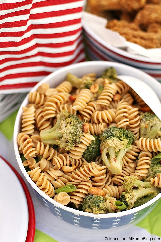 This pasta salad with broccoli and peanuts has great Thai flavor and is perfect for a summer picnic.