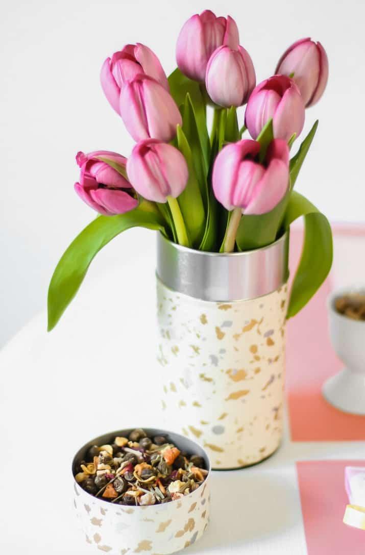 tea caddy flower vase