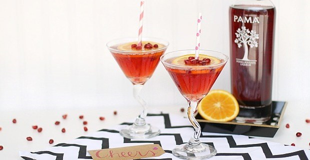 0 pomegranate sparkling martini