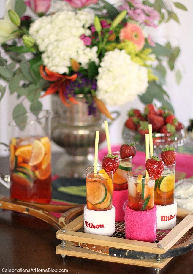 Serve classic Pimm's cup for a Wimbledon brunch party. tennis party ideas.