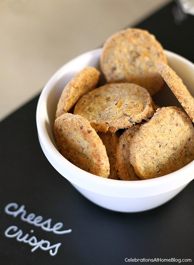 homemade cheddar cheese crisps in white bowls