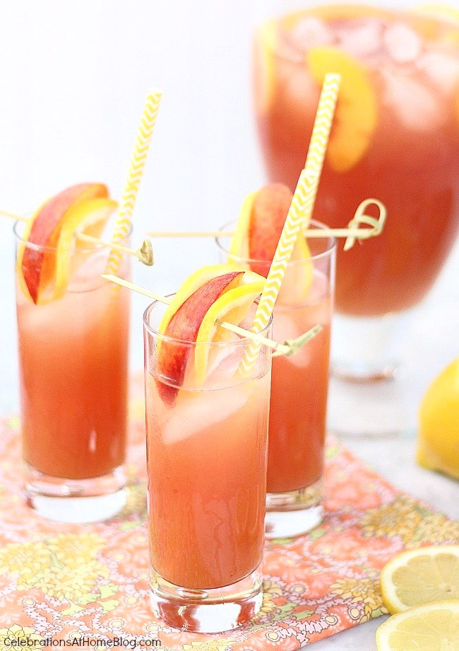 pomegranate peach lemonade with garnish