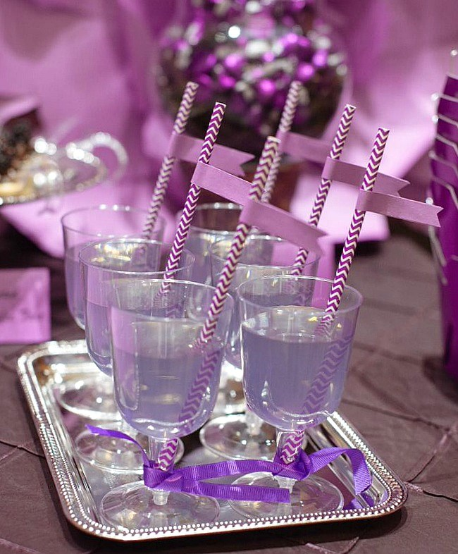 Ideas for a purple dessert table for weddings or bridal showers.