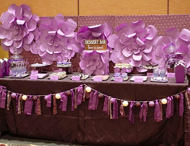 Purple dessert table for wedding or bridal shower