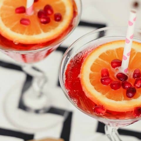 sparkling pomegranate martini recipe card