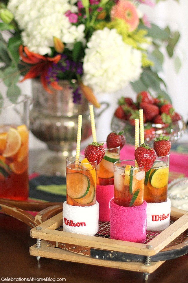 Make this easy Pimm's Cup pitcher cocktail for a stylish Wimbledon themed brunch party.