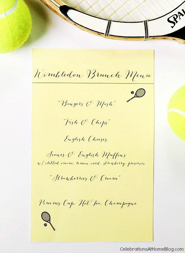 Brunch menu for tennis party