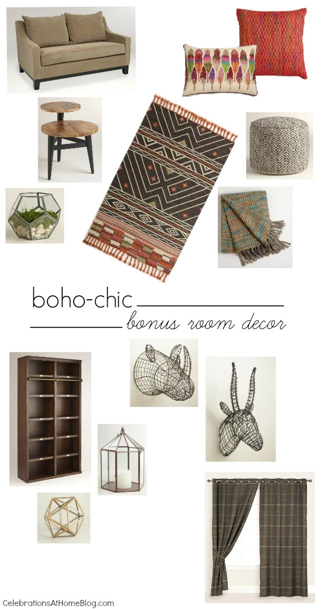 Shop the look to this boho-chic makeover to our bonus room decor.
