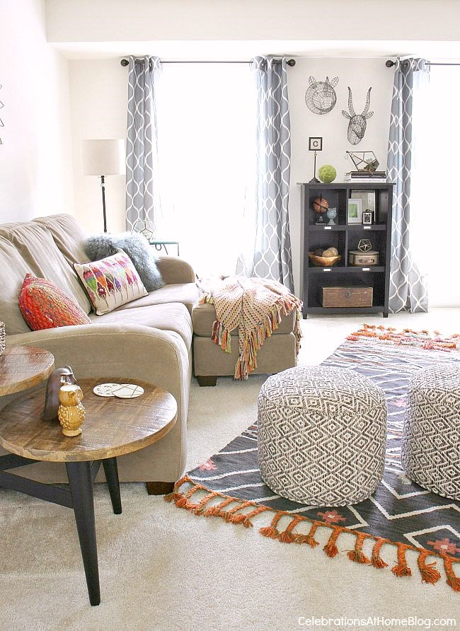 Bohemian-chic updates make this bonus room decor cozy and inviting for the whole family.