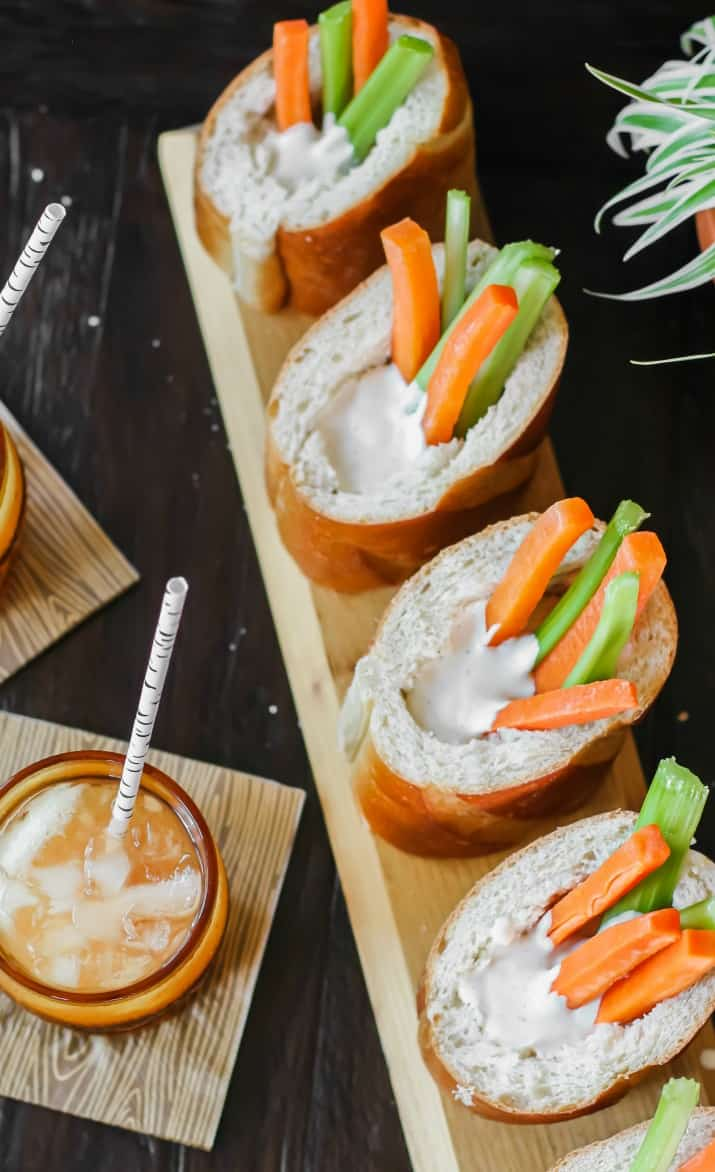 veggies in bread cups