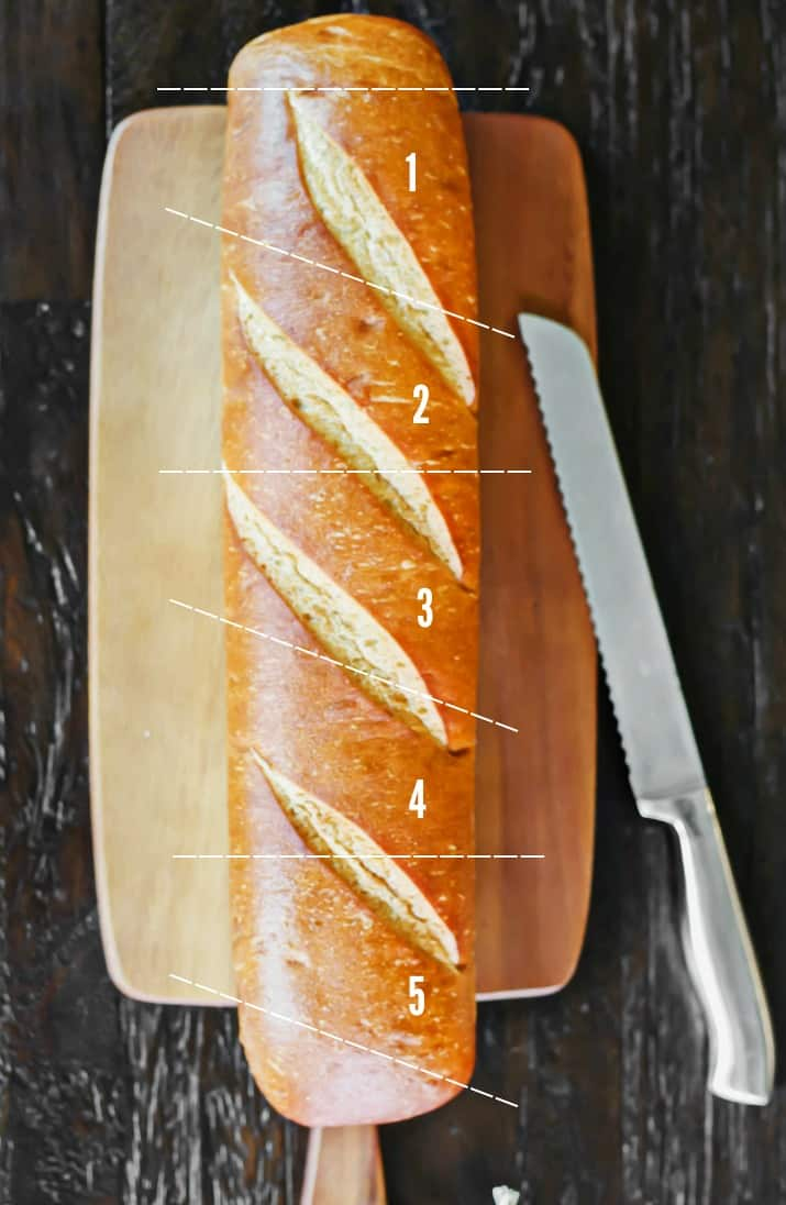 how to cut bread cups from a baguette