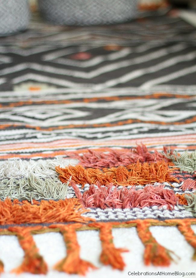 This bohemian style rug is a gorgeous accept to our bonus room decor.