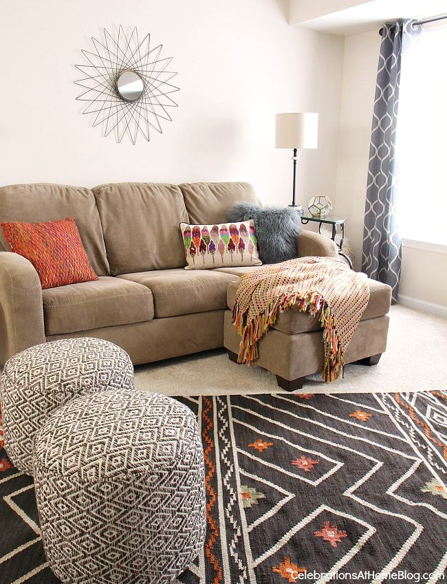 On Trend Boho Chic Updates Make This Bonus Room Decor Cozy And Inviting For  ...