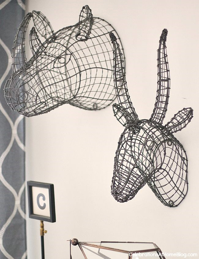 Fabulous animal head wire forms add a whimsical touch to our bonus room decor.