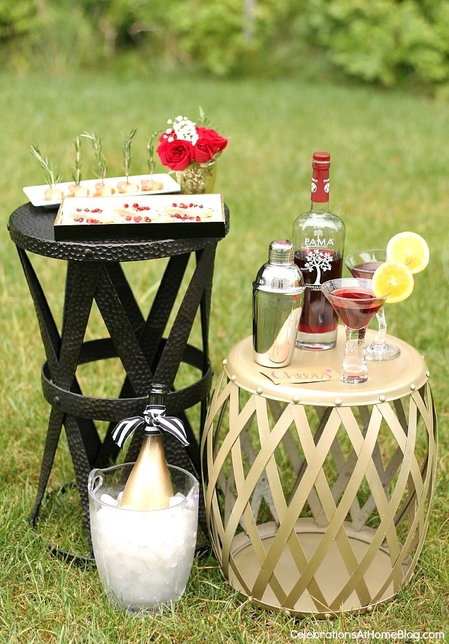 Host a summer soiree with these tips and ideas. Set up a mini cocktail and appetizers station.