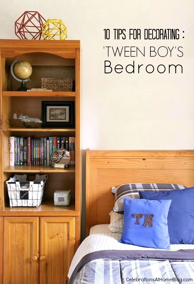 10 Tips for decorating a 'tween boys bedroom. See how I decorated my son's bedroom so it reflects his personality and helps transition into the teenage years.