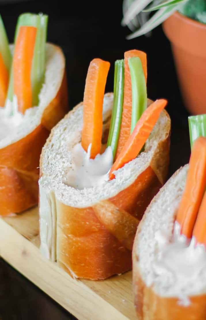 individual bread cups with vegetable sticks