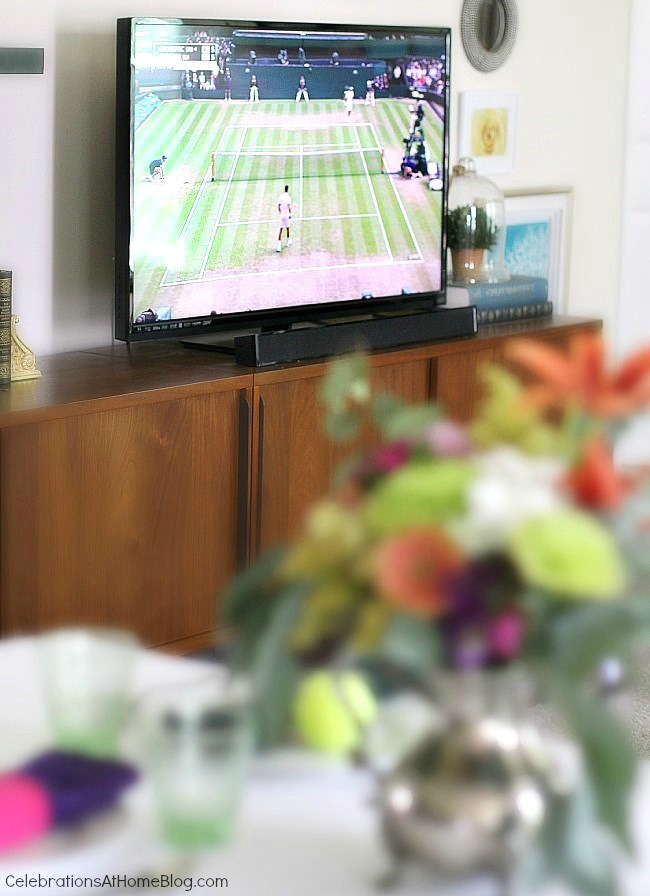 Make sure you have the table set up in front of the tv so you can watch the tennis match.