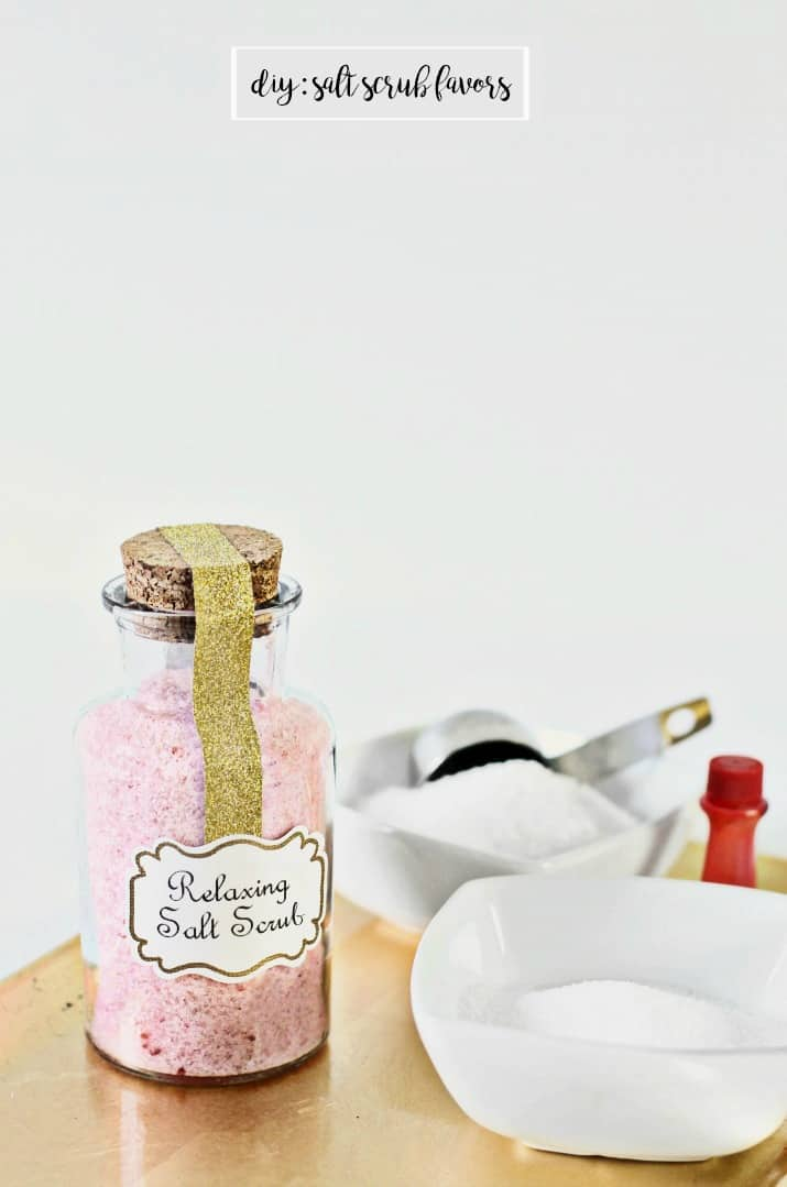 Make these relaxing diy salt scrub favors for baby or bridal showers, or hostess or birthday gifts. Recipe here...