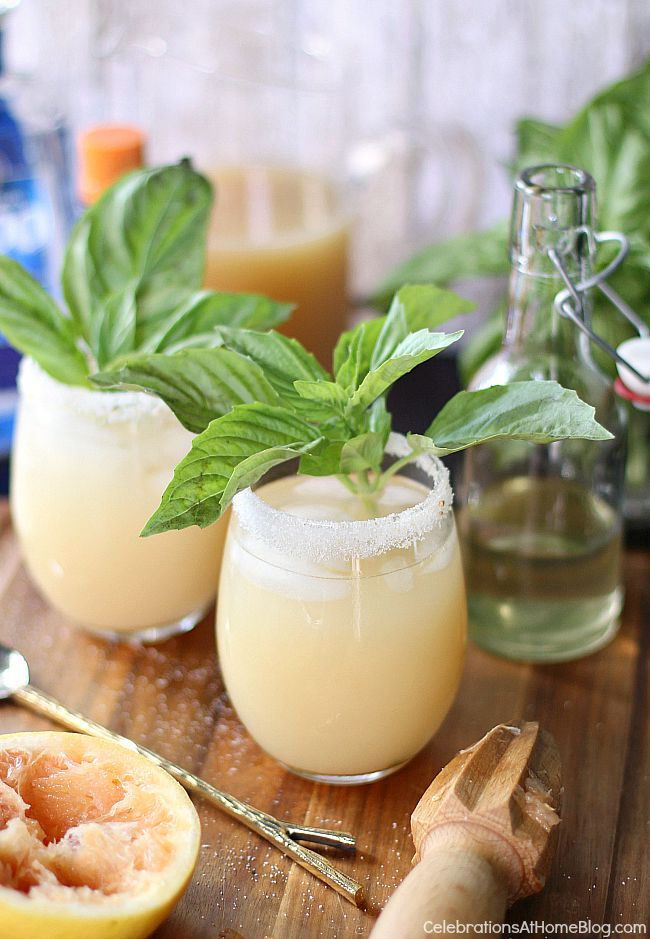 Serve up this white grapefruit margarita with basil simple syrup for a tasty twist on the classic cocktail.
