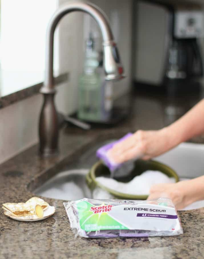 clean up with scotch brite