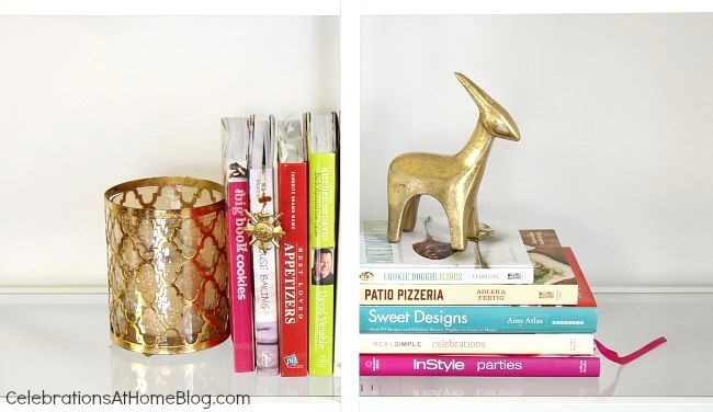 Decorating shelves in the dining room - display entertaining and cookbooks on your dining room shelves.