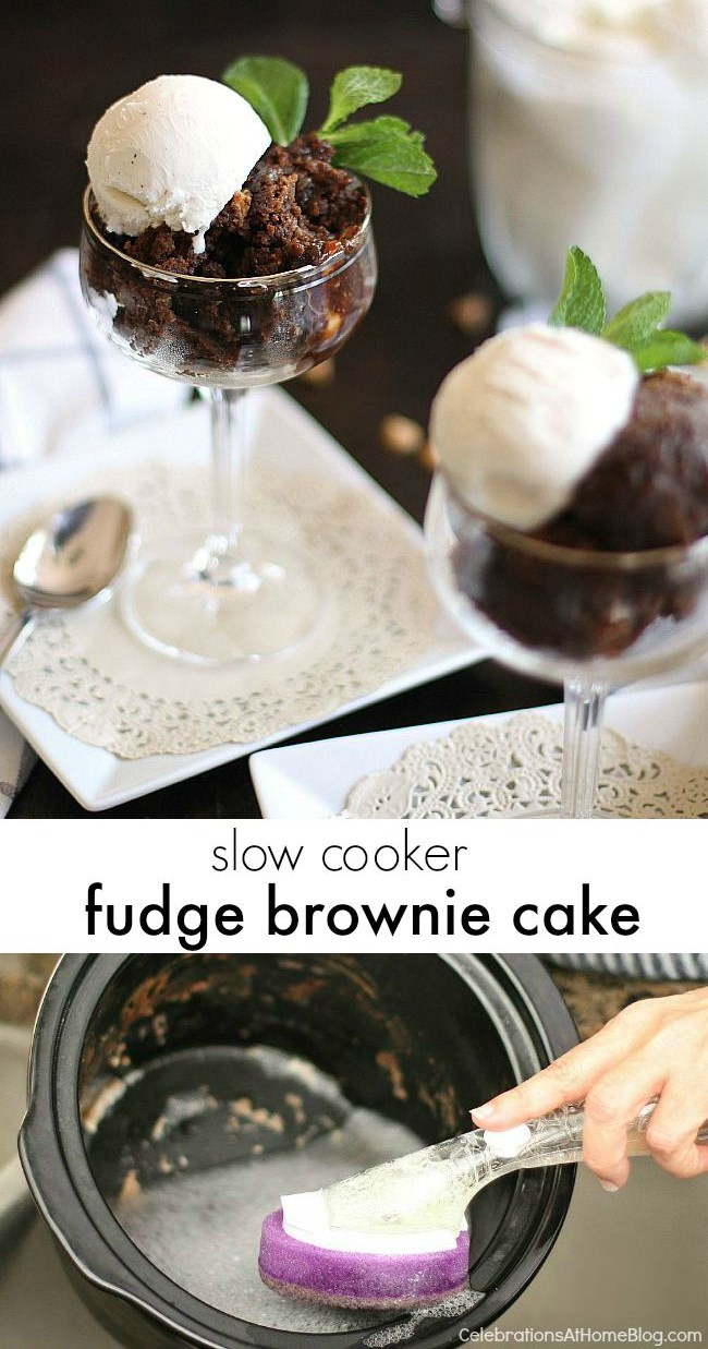 This slow cooker brownie cake is delicious! I'ts easy to make and then scoop it out to serve with ice cream. Tastes just like a brownie!