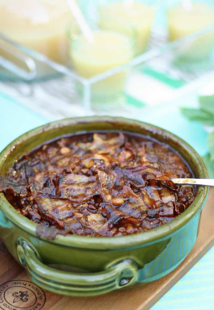 sweet and spicy baked beans recipe for summer potluck parties